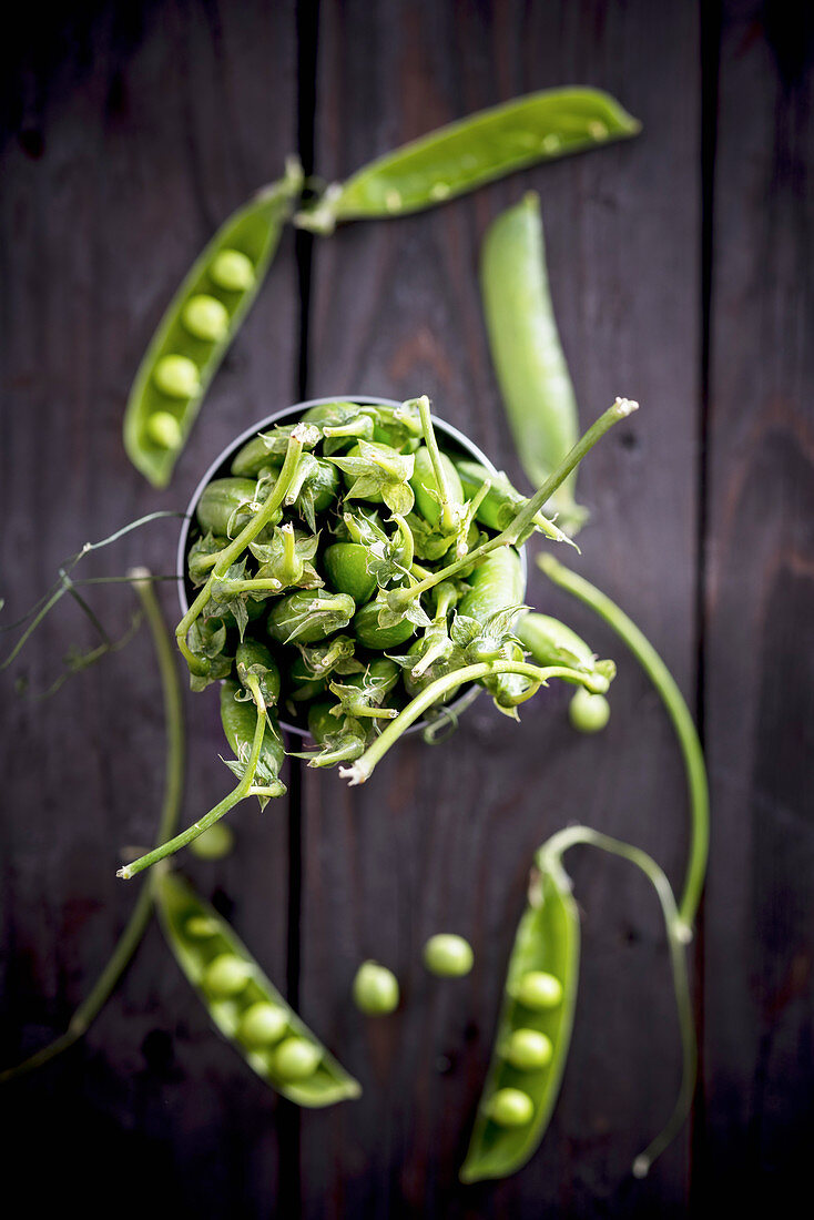 Fresh pea pods in a metal container (top view)