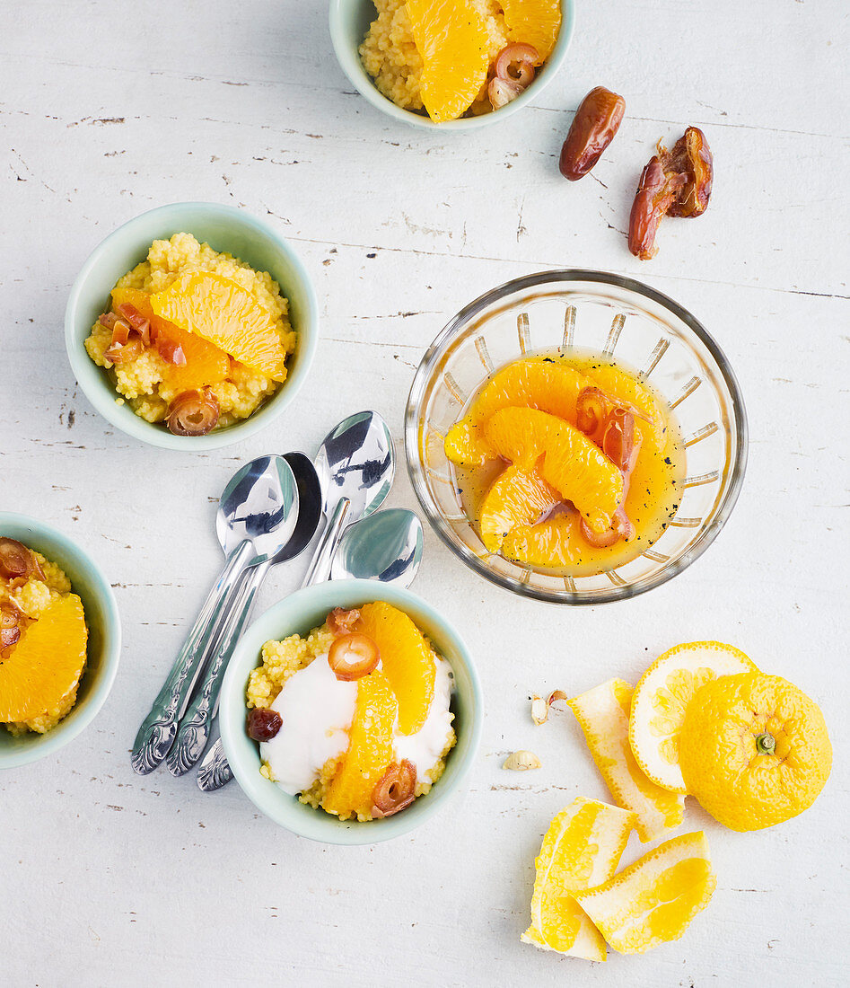 Millet porridge with an orange and date compote