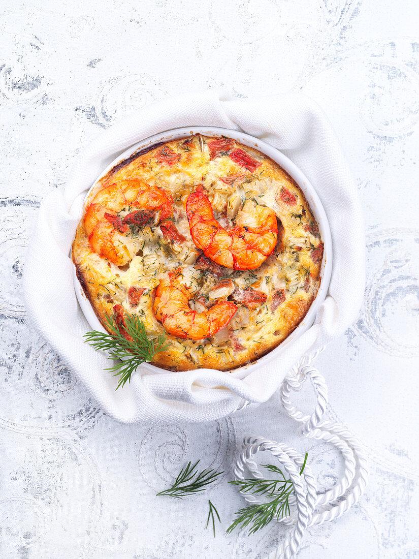Shrimp casserole with dill