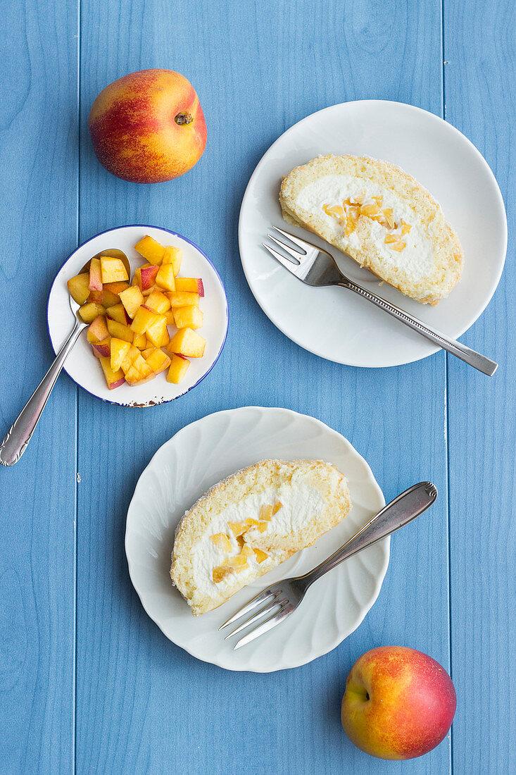 Nectarine Swiss roll with cream