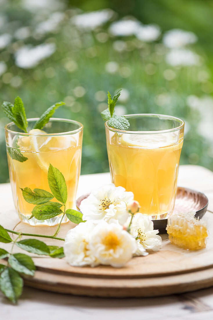 Green honey iced tea with peppermint and ginger