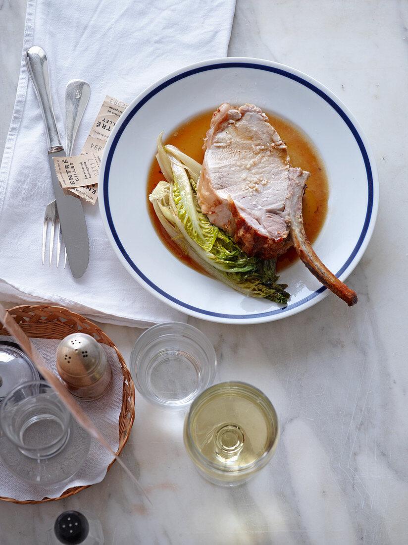 Pork chop with braised lettuce