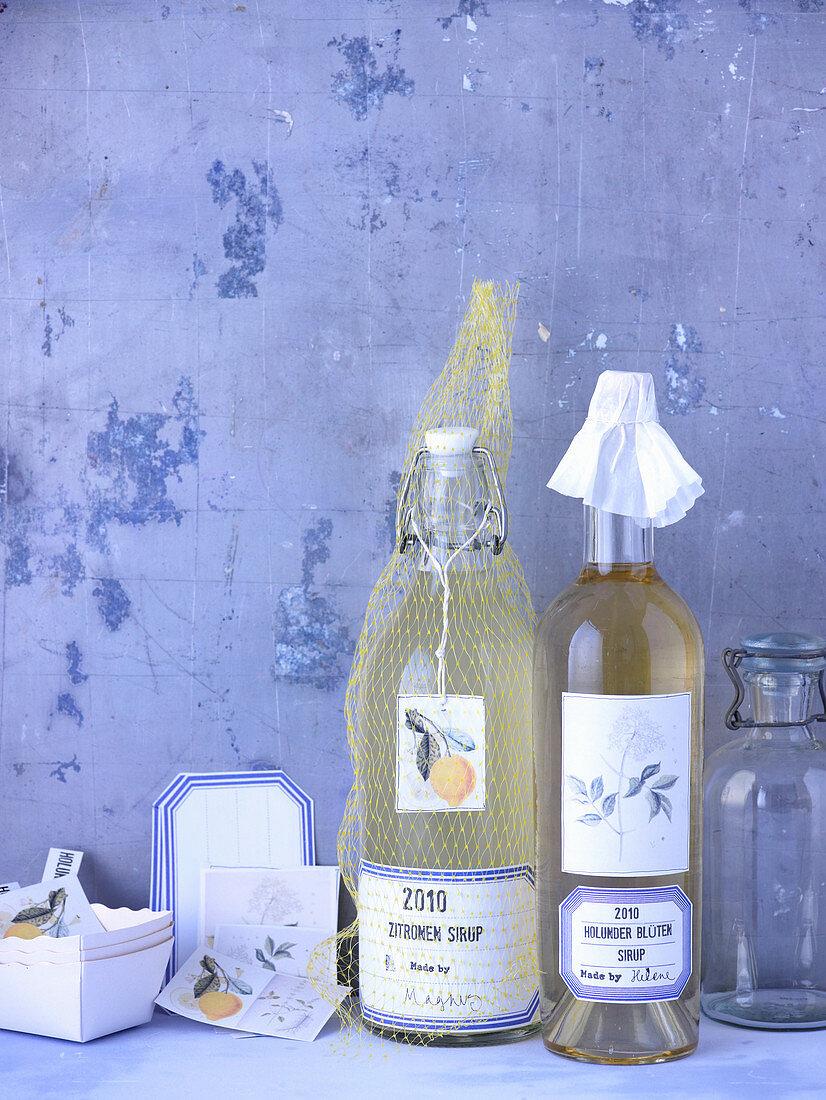 Homemade lemon and elderflower syrup