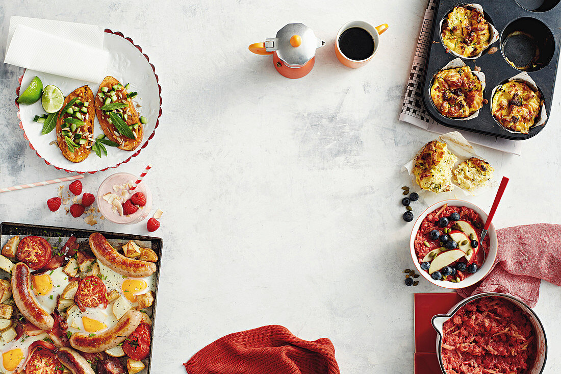 Sweet potato toasts with satay sauce, All-in-one breakfast bake, Raseberry and coconut breakfast smoothie, Overnight sausage strata muffins, Beetroot and apple porridge