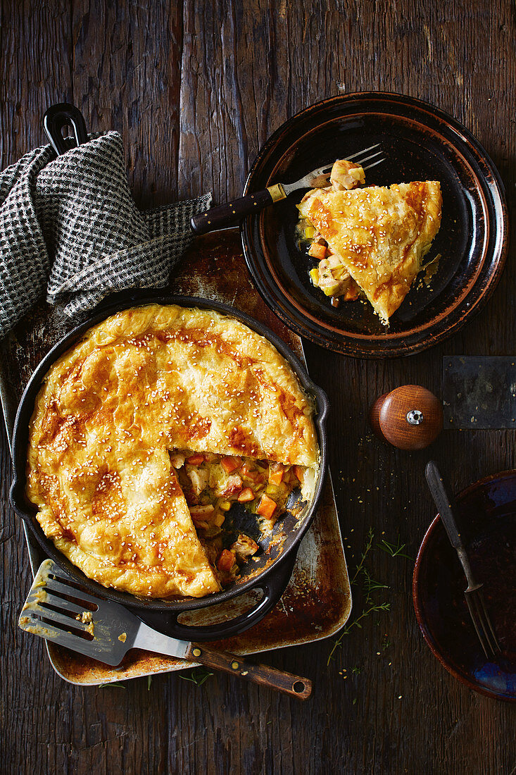 One Pan country chicken pie