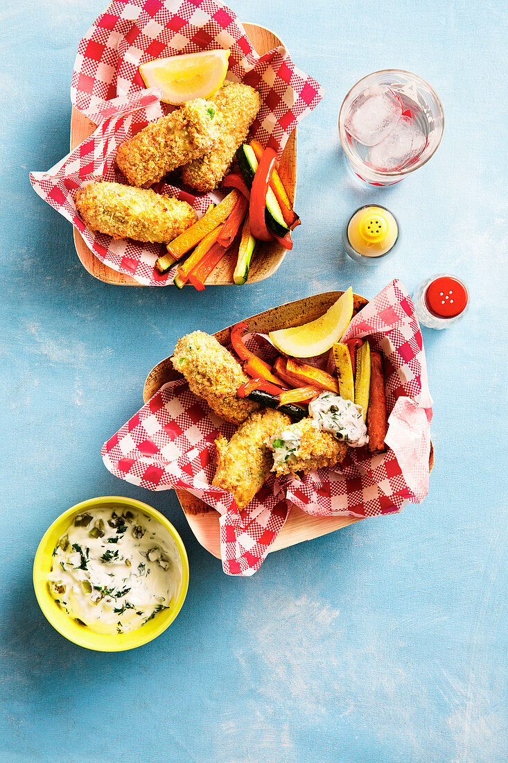 Fish Fingers with Vegie Chips and Yoghurt Tartare