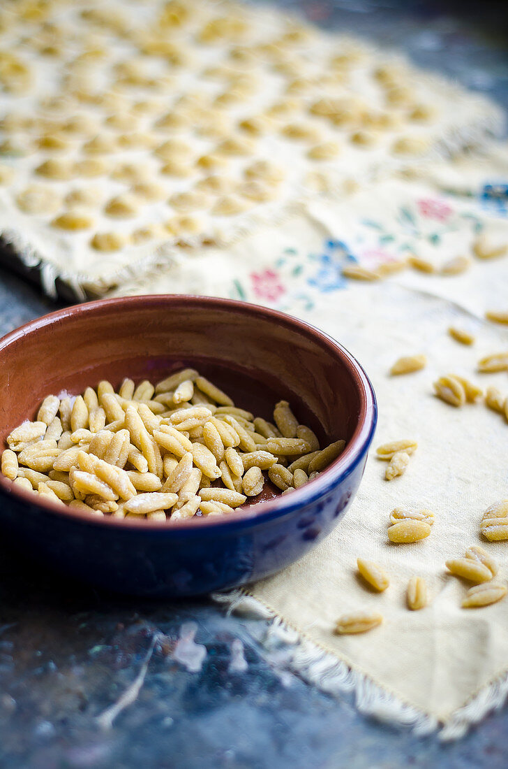 Homemade fresh pasta pici in a bowl with pasta drying on a light towel on the table and in the background