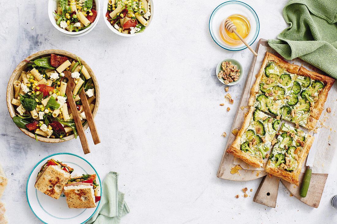 Corn, bacon and fetta pasta salad - vegie-stuffed focaccia - broccoli walnut tart