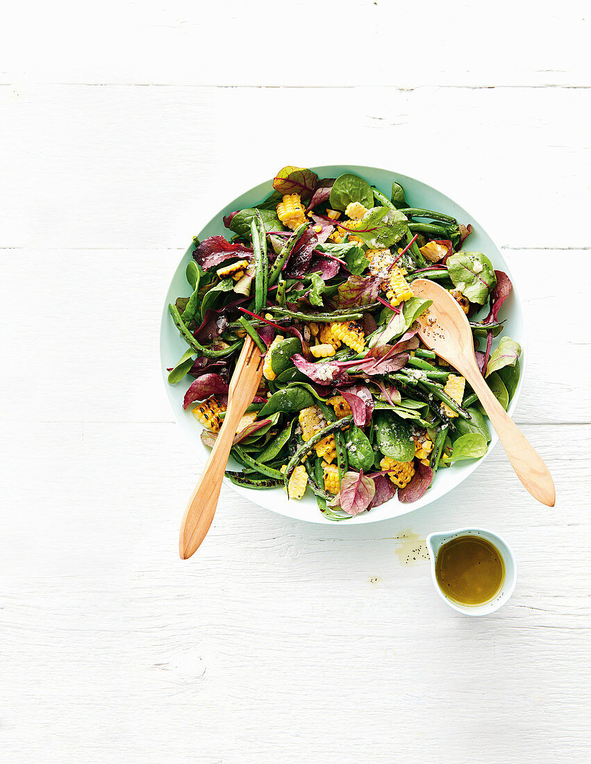 Blistered corn and bean salad with poppyseed dressing