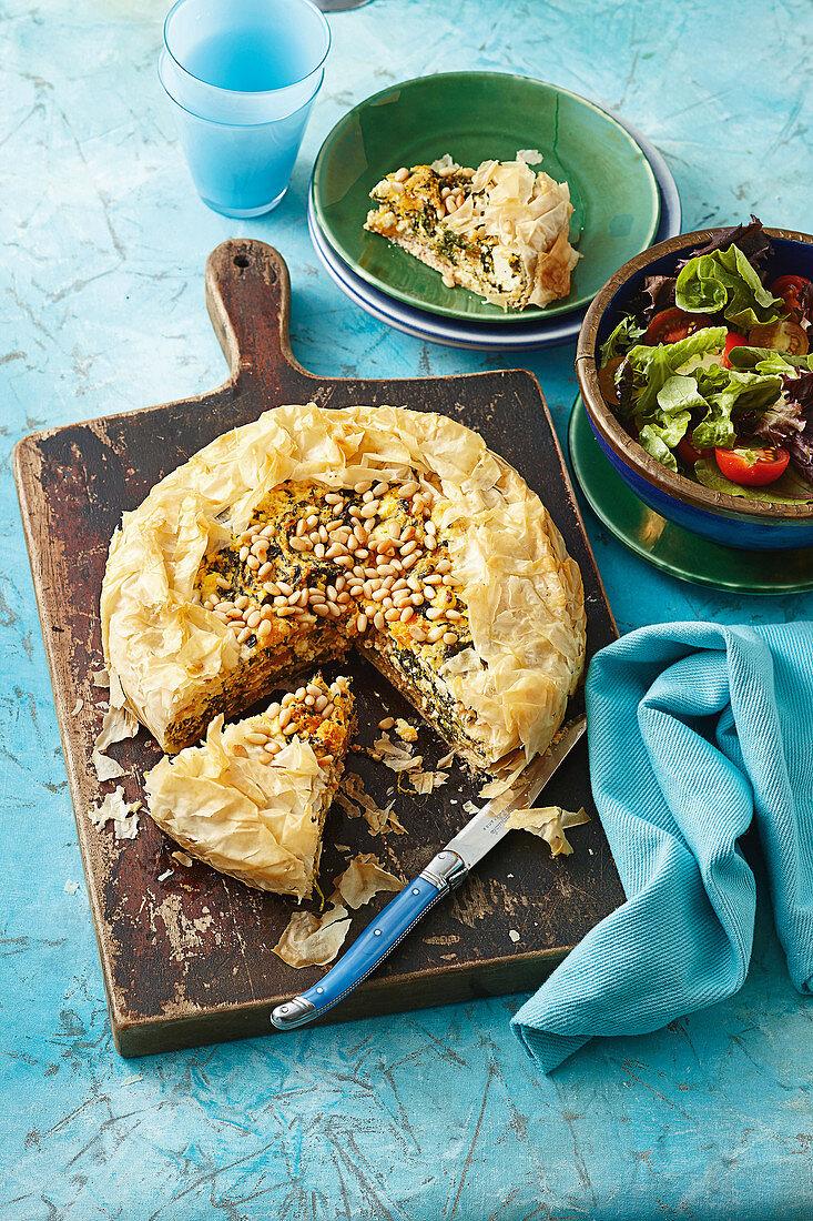Pumpkin, spinach and ricotta pie