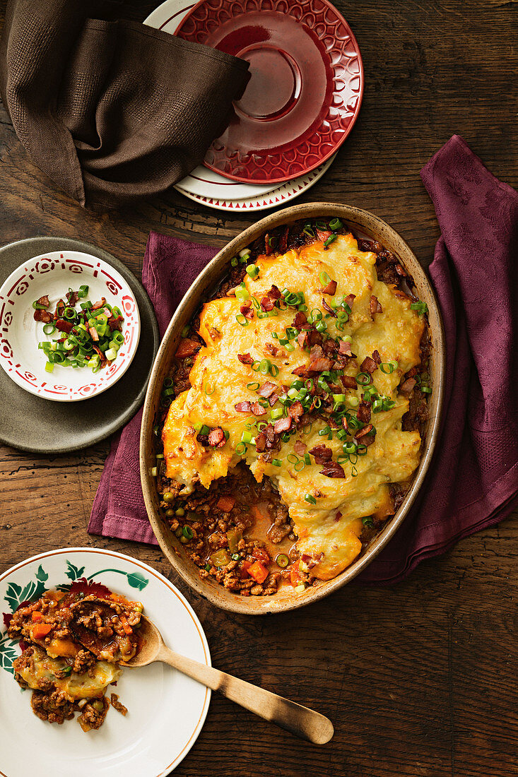 Classic Cottage Pie with Cheesy Bacon Mash