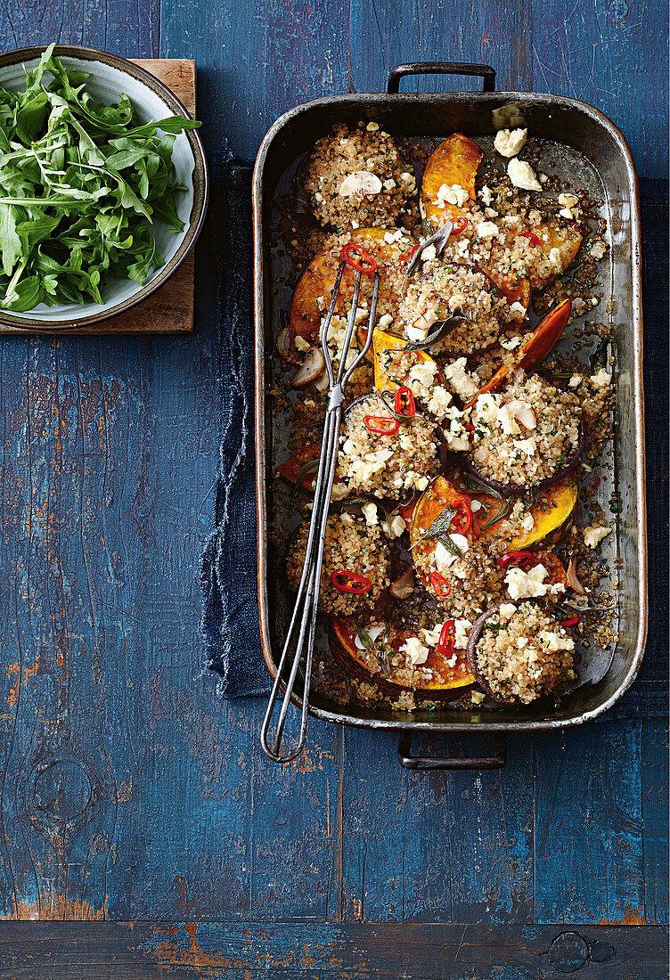 Roasted pumpkin, mushrom and quinoa tray bake