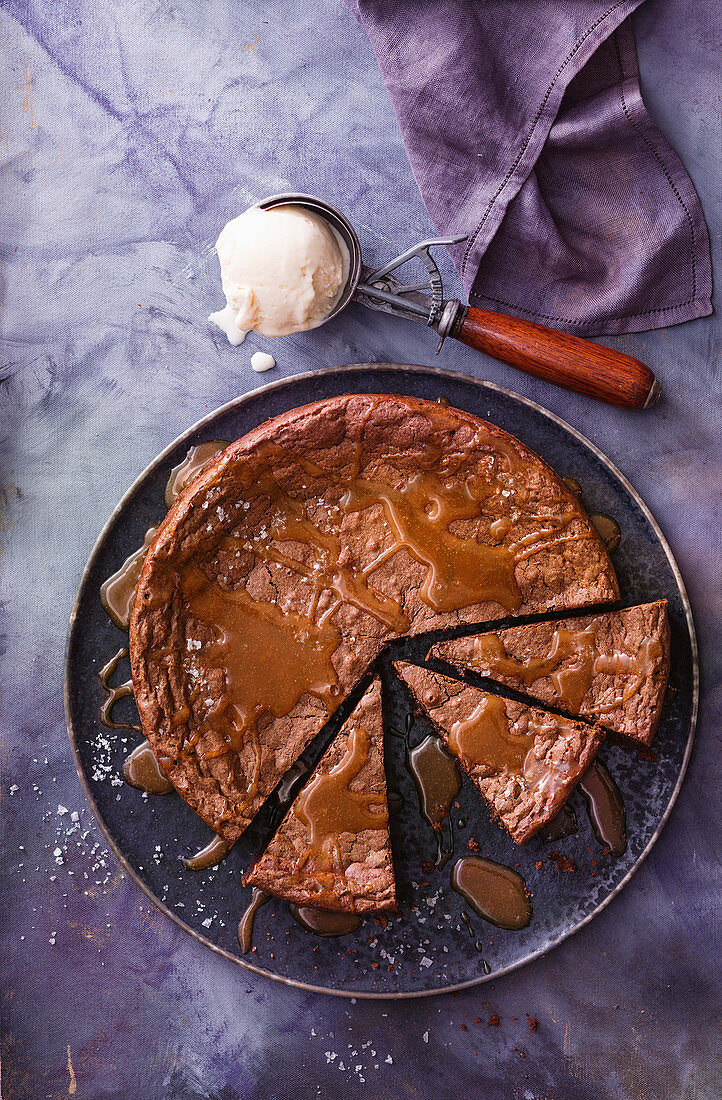Choc-malt cake with salted caramel sauce