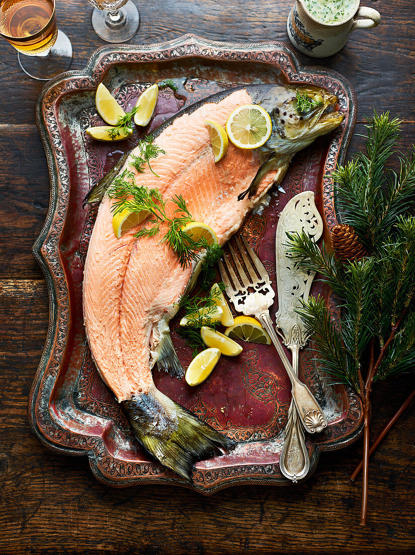 Whole skinless baked salmon