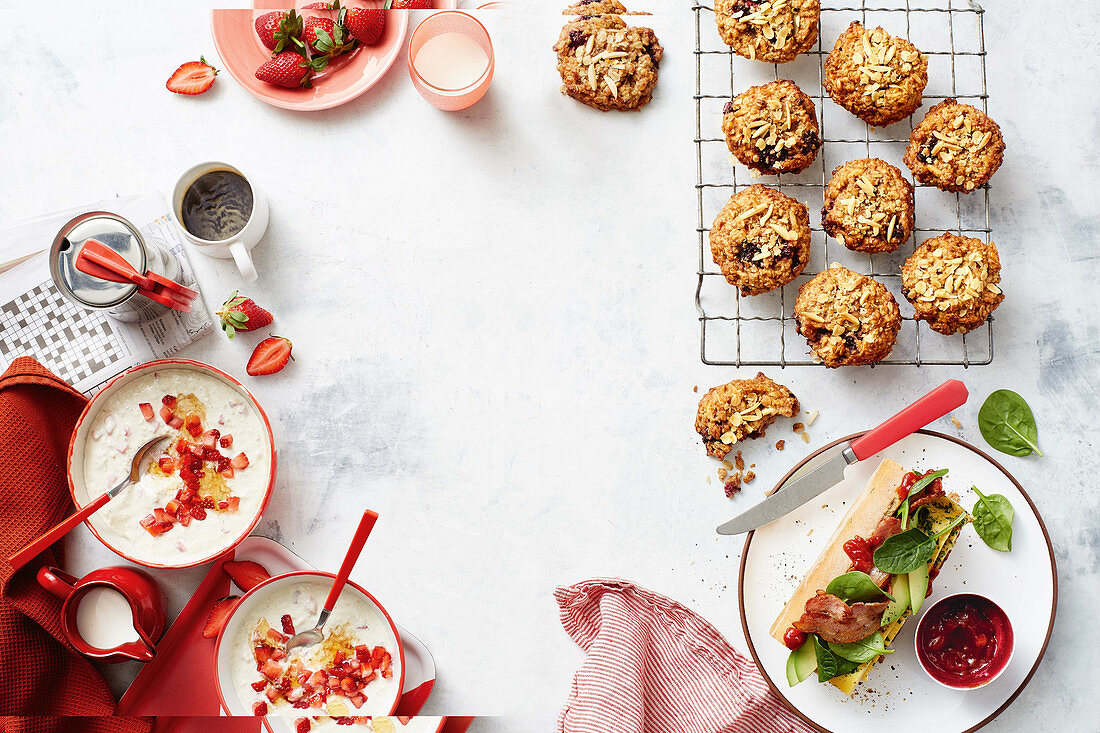 Strawberry overnight oats - banana-berry breakfast biscuits - baked egg breakfast baguettes