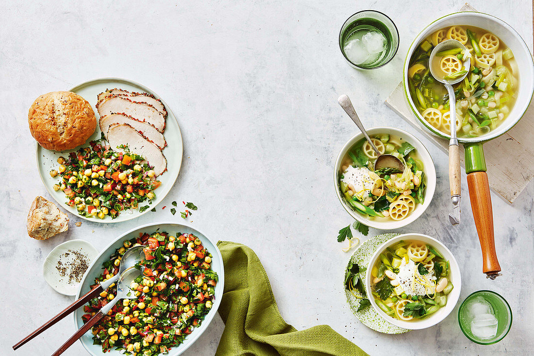 Spring minestrone with shipped lemon fetta - Chilli chickpea tabouleh with roast pork