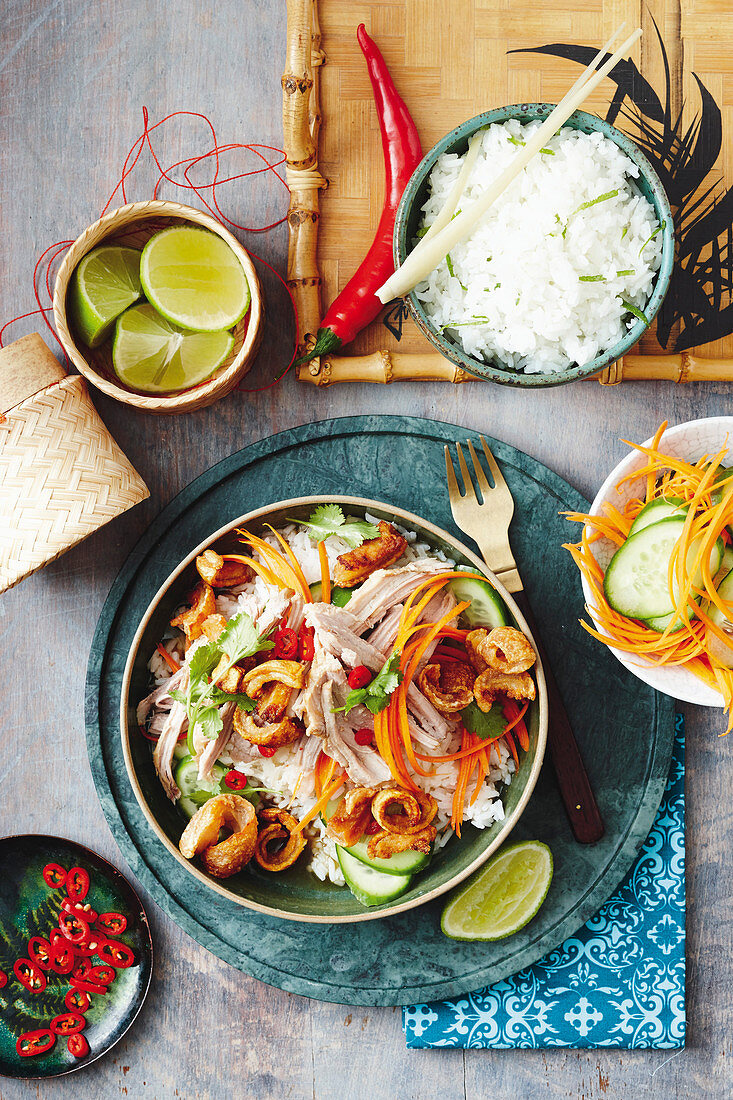 Slow-cooker spicy pineapple roast pork with lemongrass and lime rice (Asia)