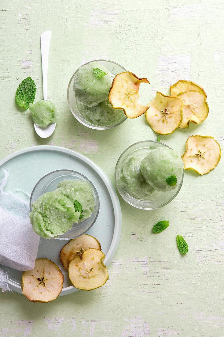 Green tea and apple sorbet with apple crisps (vegan)