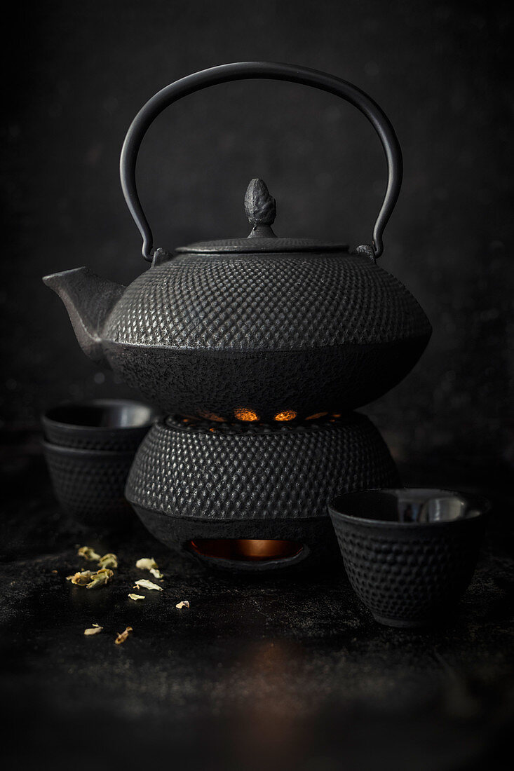 A cast-iron teapot on a teapot warmer