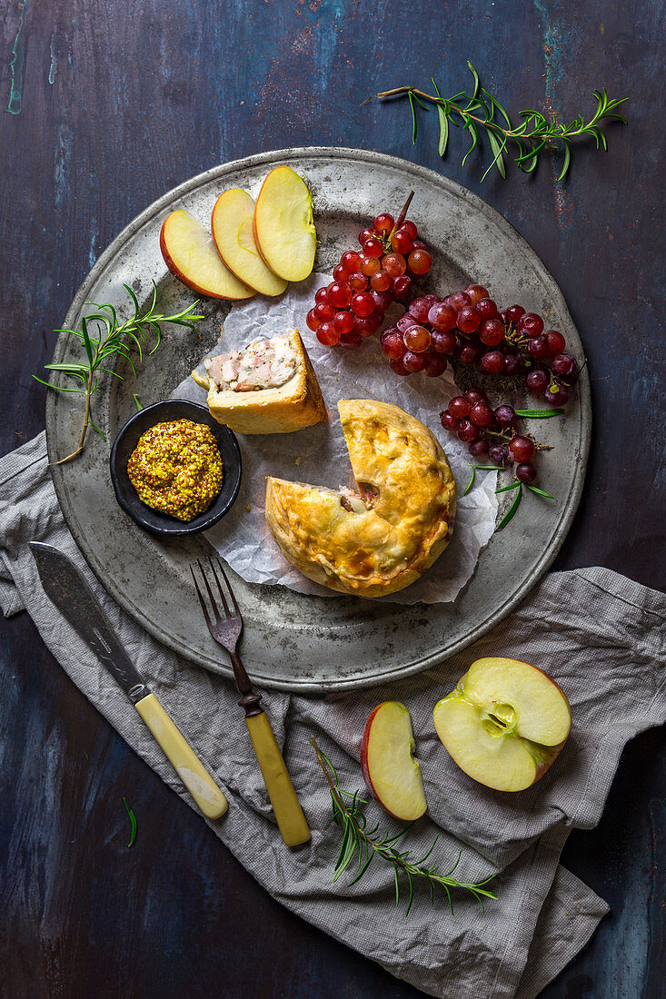 English Pork Pie with Mustard and Fruit