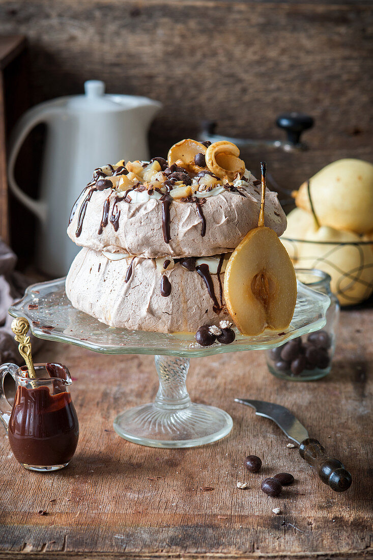 Chocolate and pear Pavlova