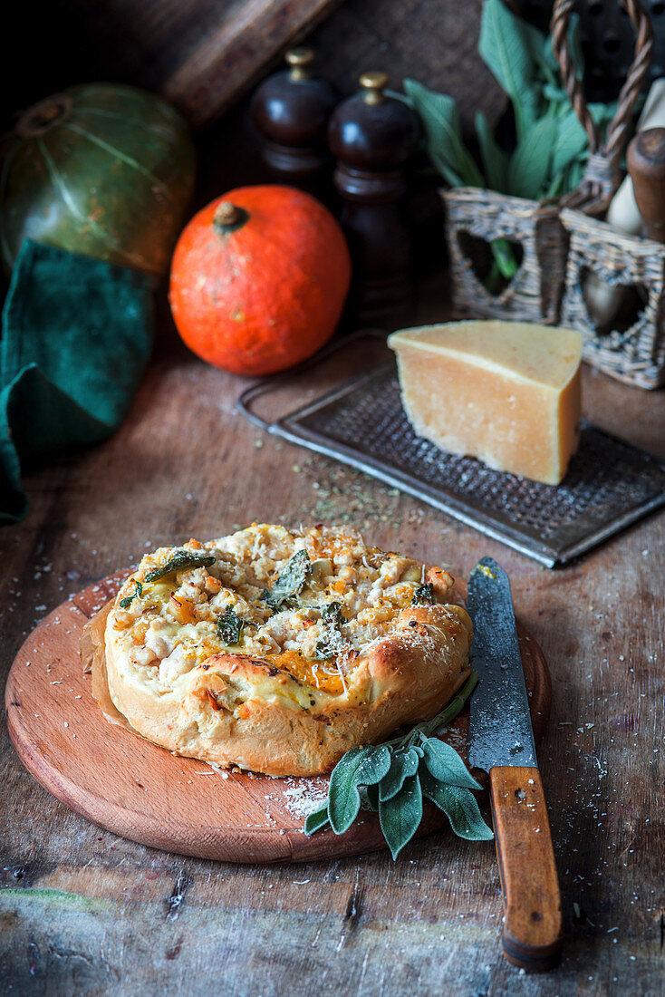 Rustic pumpkin, chicken and sage pie