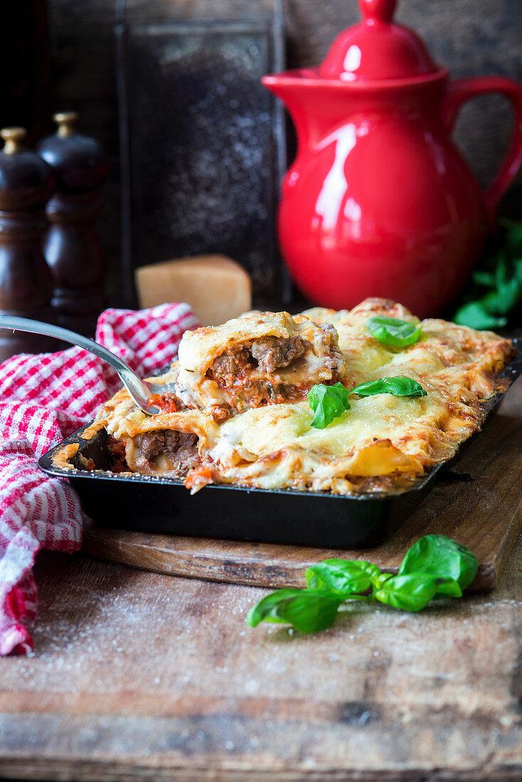 Sausage lasagne in a baking dish