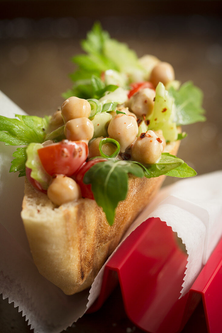 A chickpea salad sandwich
