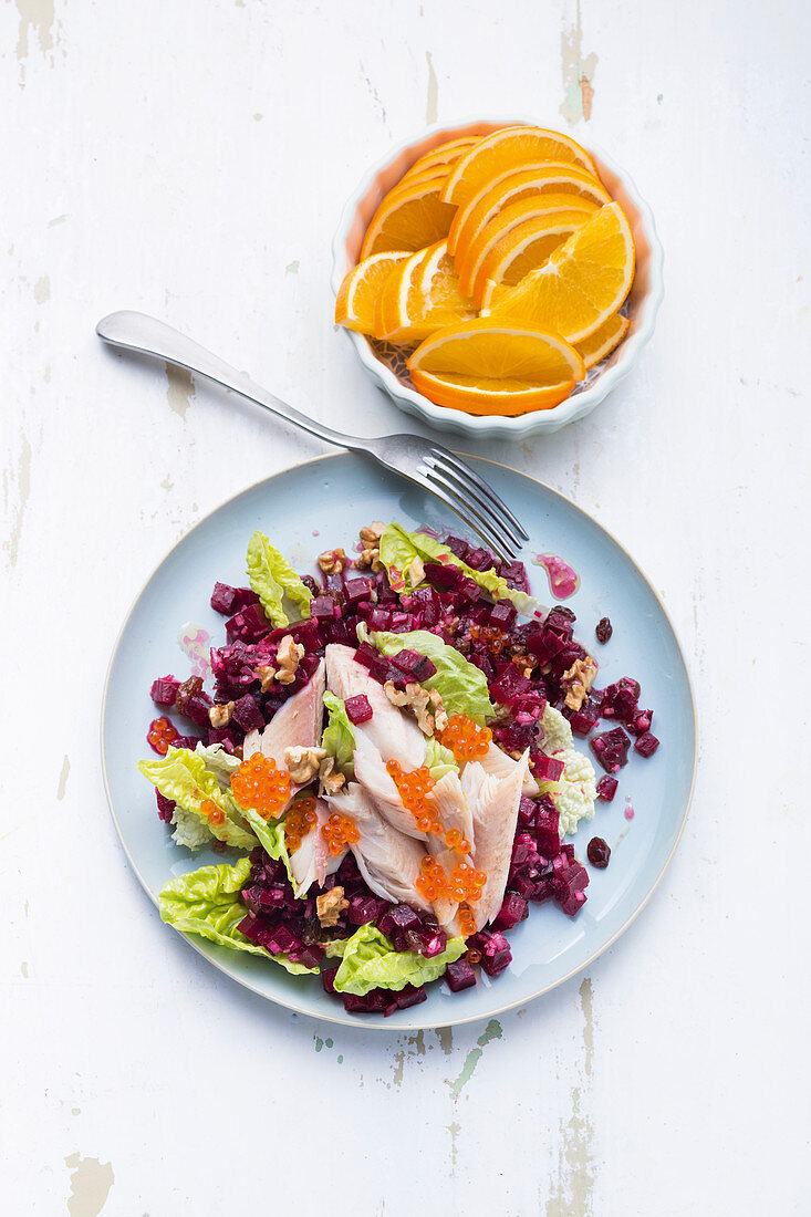 Smoked trout fillets with beetroot tatar and walnuts