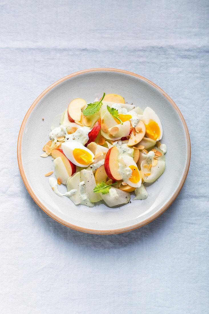 Kohlrabi and apple chunks with hard boiled eggs