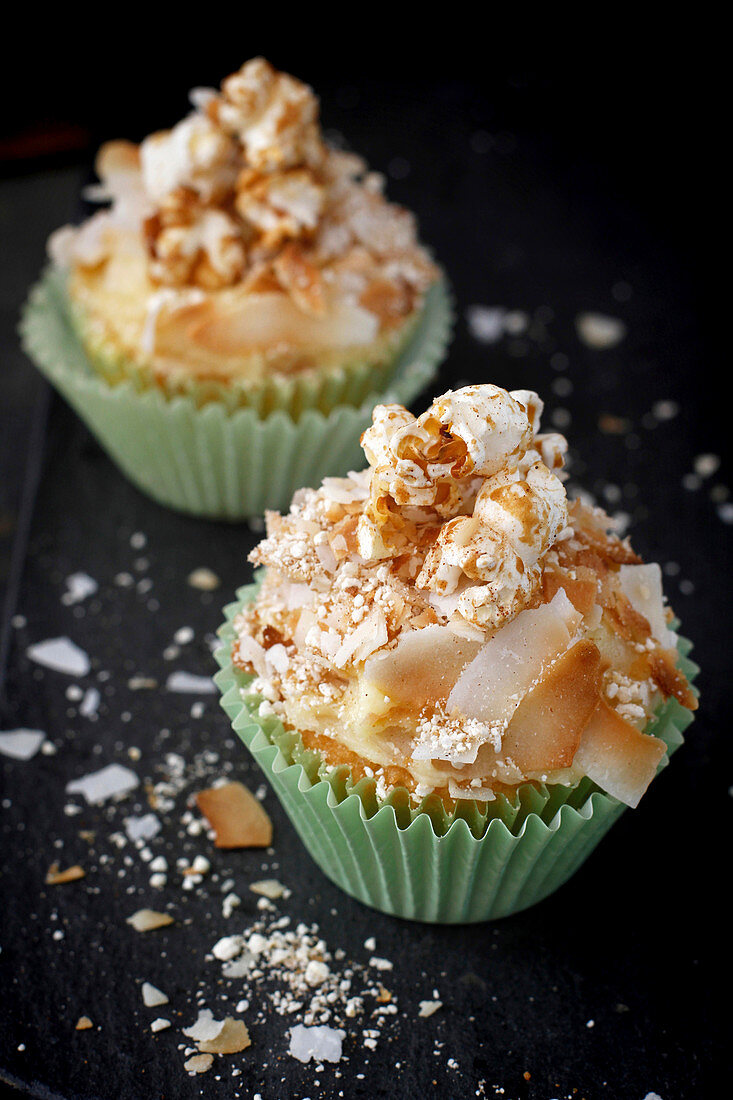Vanilla Cupcakes with toasted coconut and caramilised popcorn