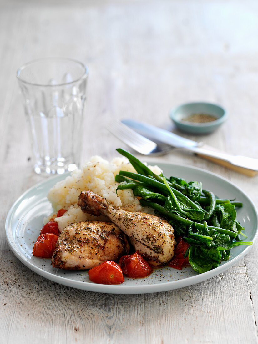 Tasty chicken with mash and vegetables