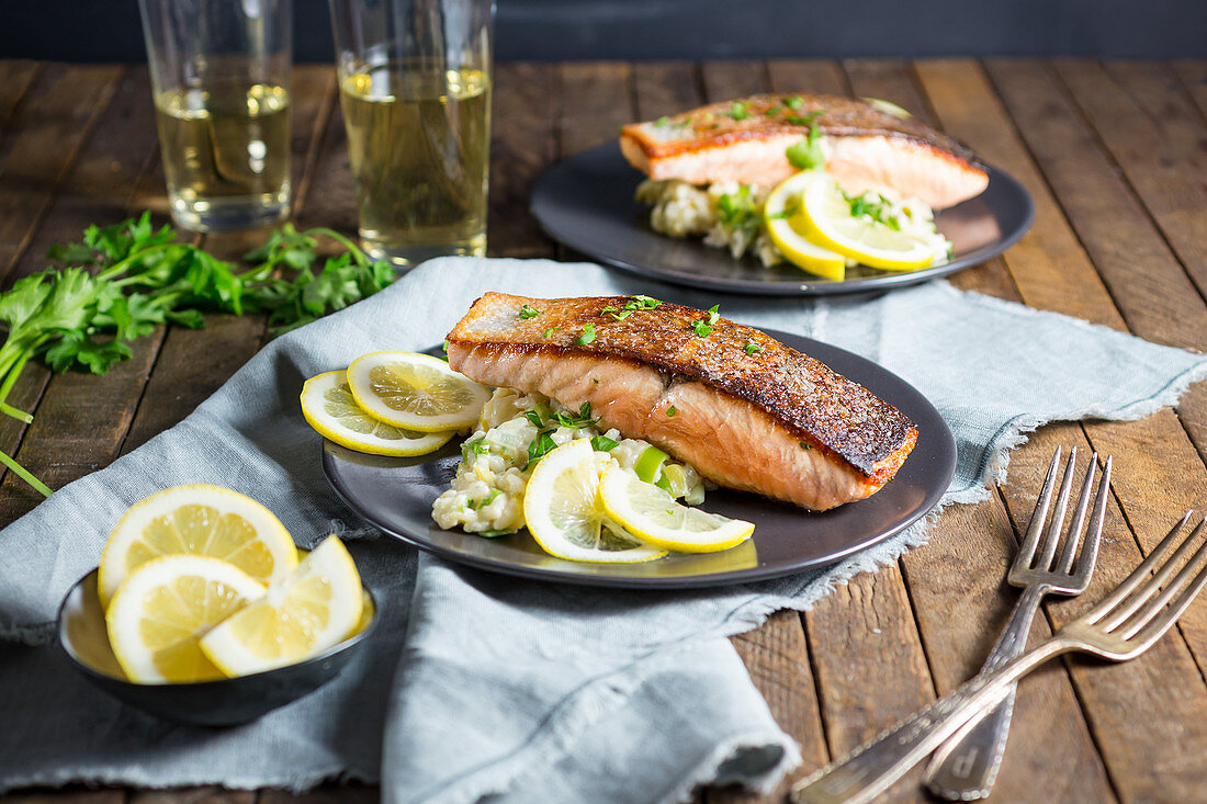 Fried salmon with creamy lemon risotto