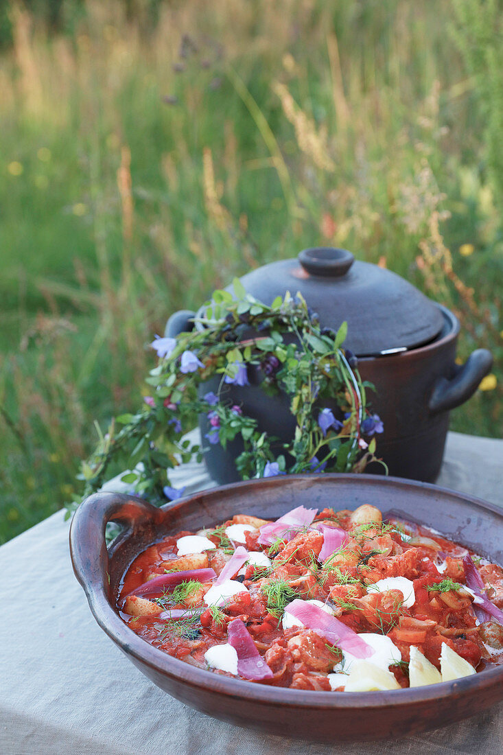 Salt cod prepared in Norwegian style for summer party