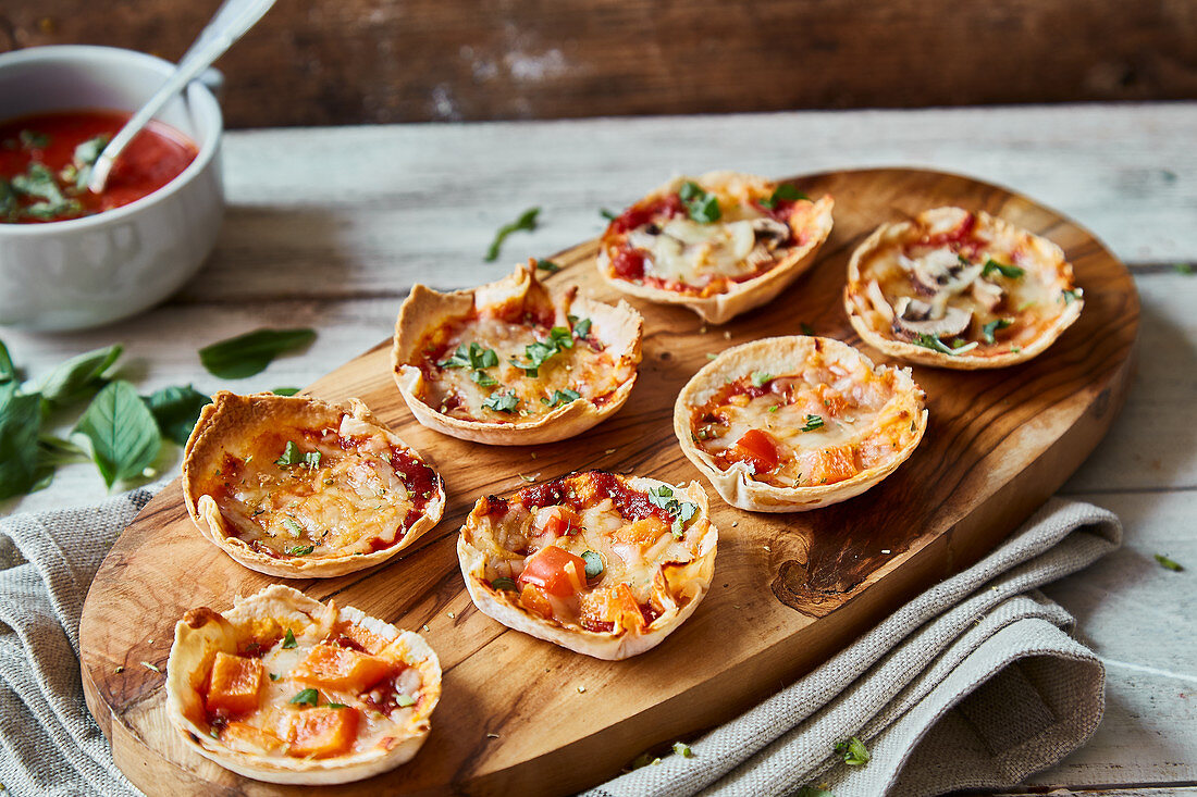 Mini tortilla pies baked in a muffin tin
