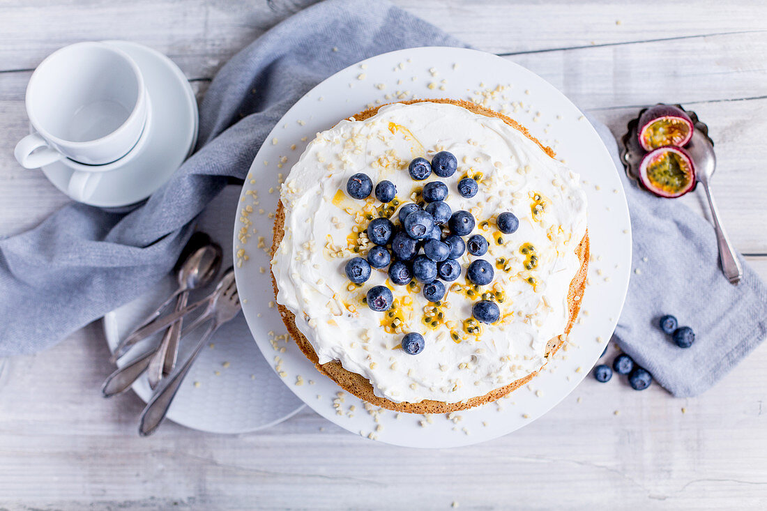 Passion fruit and quark cake with blueberries