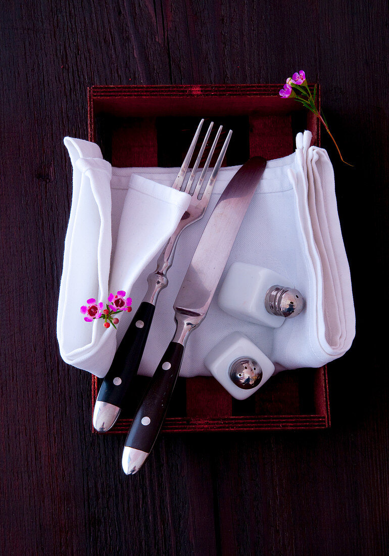 Cutlery, a fabric napkin and salt and pepper shakers in a wooden crate