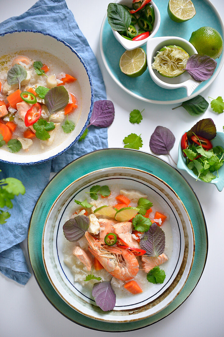 Thai style fish soup with prawns and salmon