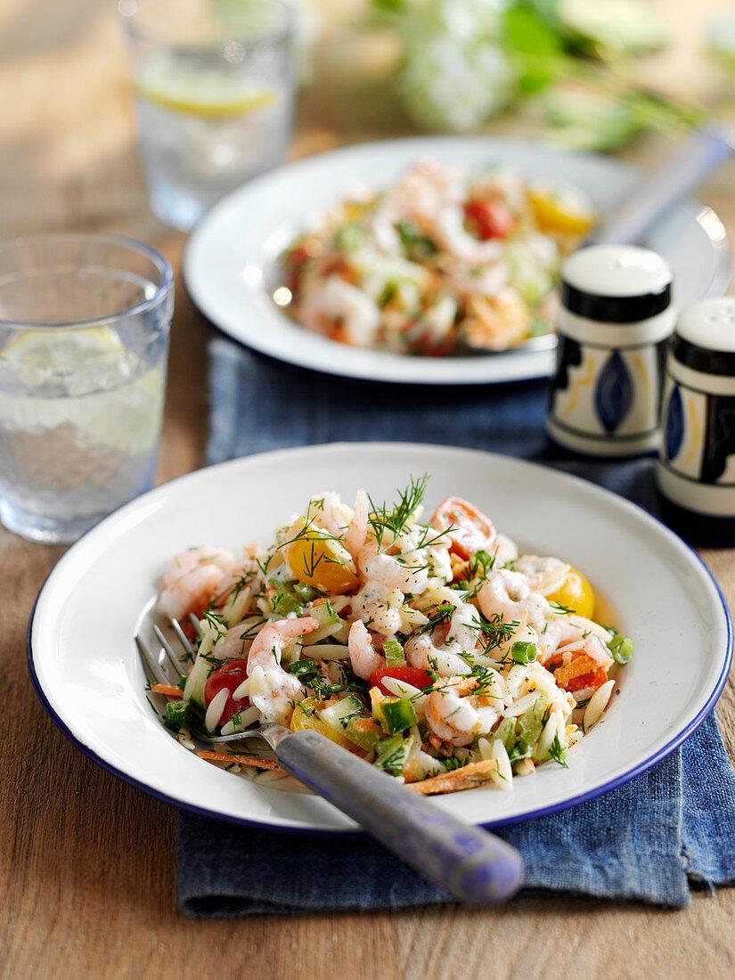 Lemon Orzo Salad with prawn