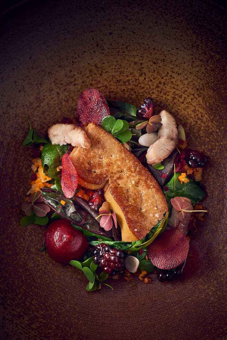 Foie gras on a mixed beetroot salad