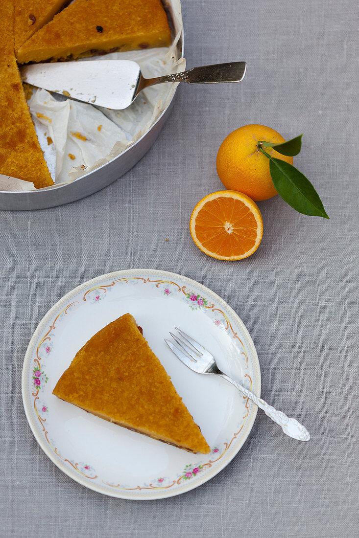 Orange tart, sliced