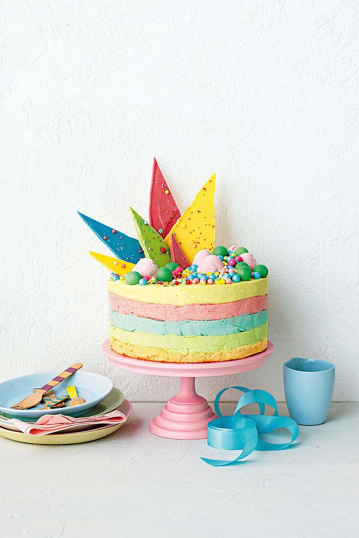 Rainbow ice cream cake with jelly