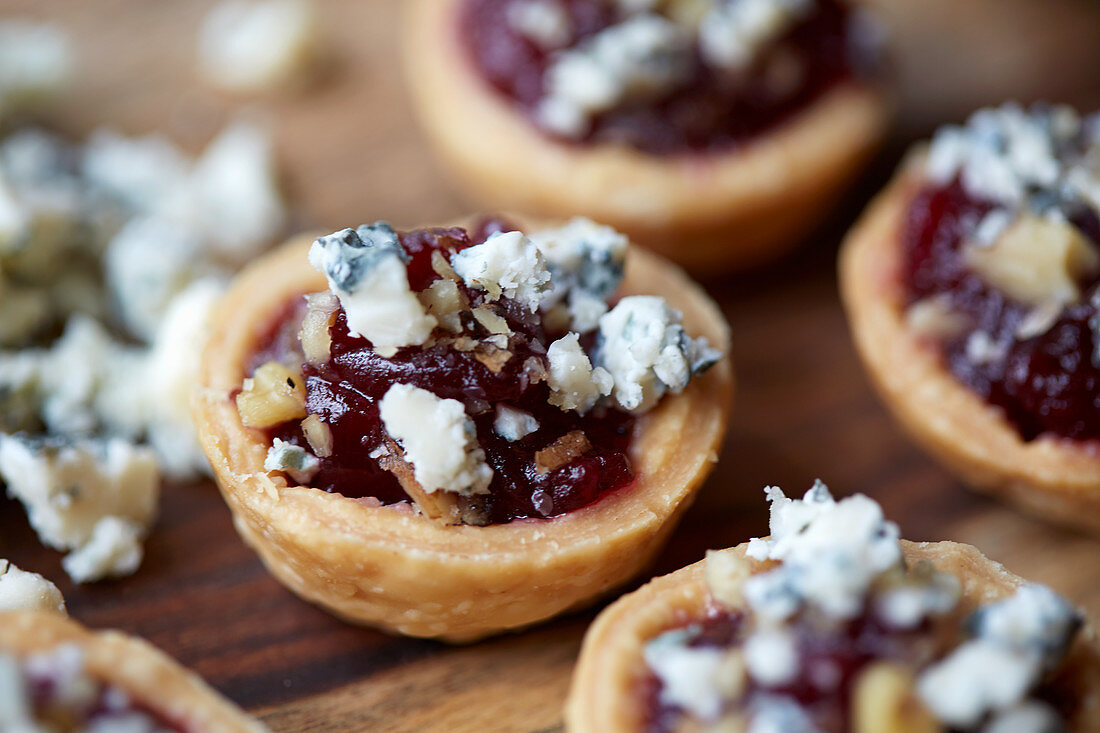 Cranberry cups with blue cheese