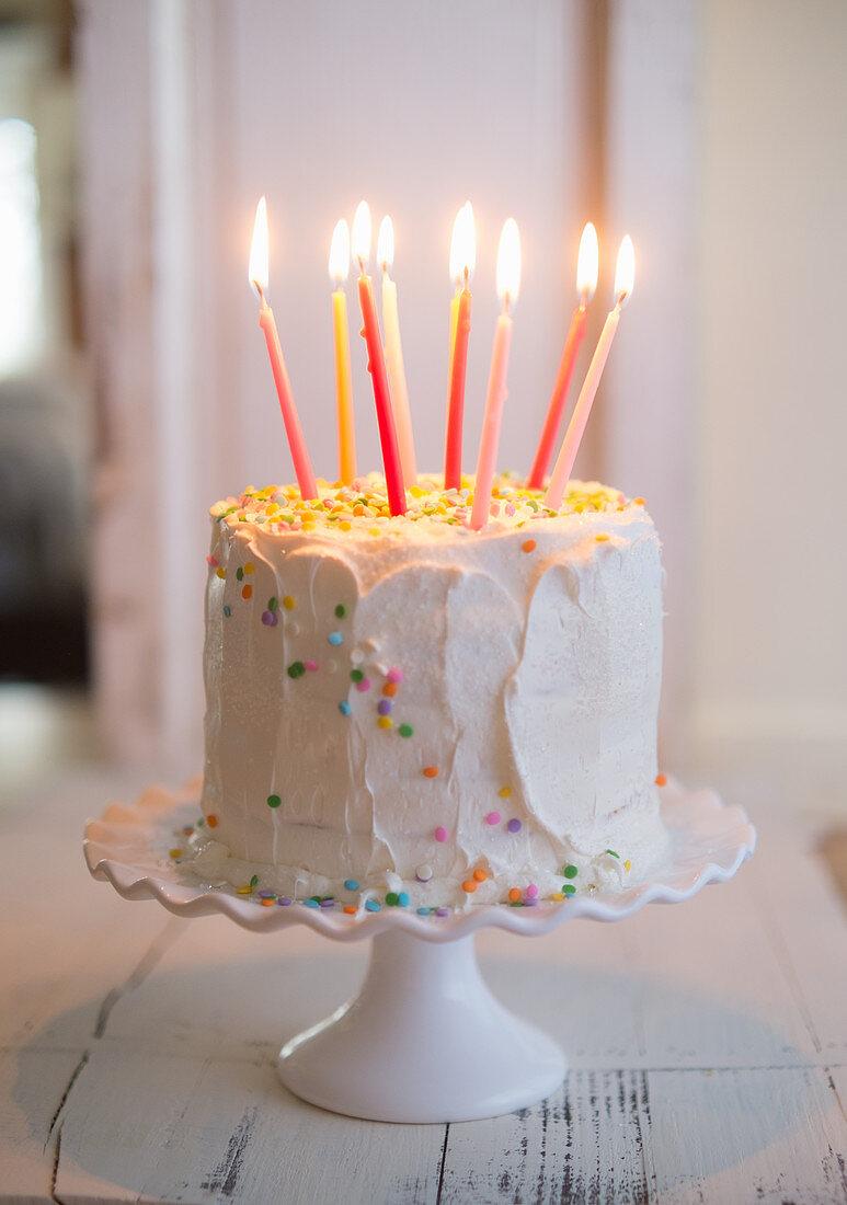 White Birthday Confetti Cake
