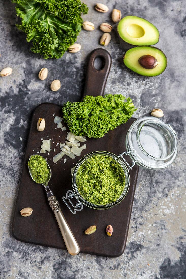 A jar of green kale pesto