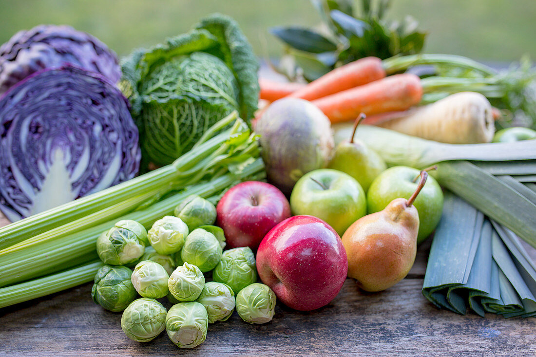 Winter vegetables, apples and pears