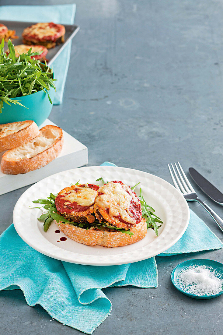 Aubergine sandwich with tomato and mozzarella
