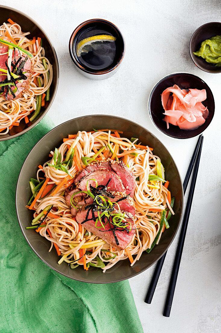 Chilled soba noodle salad with sesam beef