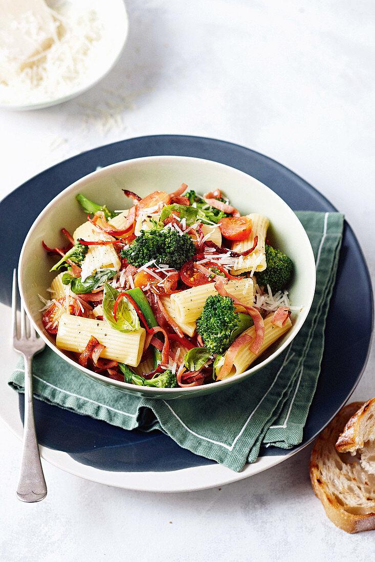 Rigatoni with crispy mortadella, tomato and basil