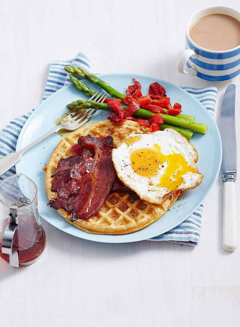Buttermilk Waffles with Spicy Maple Bacon